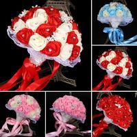 Romantic flores Blanco de Dama de honor de Boda Imponente Nupcial Ramos de flores artificiales de Rose Wedding Bouquet L30