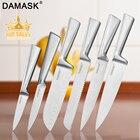 Damask Kitchen Knives Set 3Cr13Mov Stainless Steel Knife Set Fruit Utility Santoku Bread Slicing Chef Meat Cleaver Cooking Tools