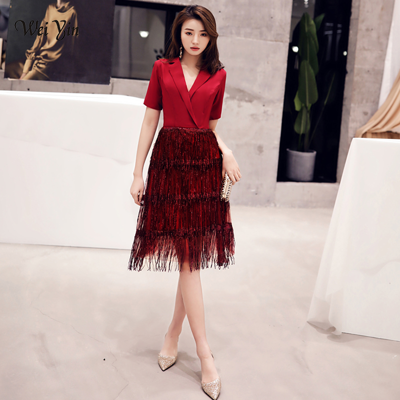 wei yin 2019 Robe De   Cocktail   Courte Elegant A Line V Neck Tasse   Cocktail     Dresses   Sexy Burgundy Backless Party Gown WY1589