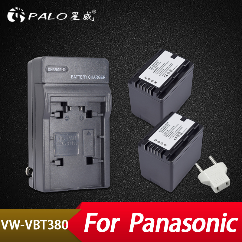 Palo 2Pcs 3900mAh VW-VBT380 VW-VBT190 Battery+Charger Plug for Panasonic HC-V720,HC-V727,HC-V730,HC-V750,HC-V757,HC-V760,HC-V770 tectra 2pcs vw vbt190 vbt190 li ion battery usb 2 channel charger for panasonic hc v110 hc v130 hc v160 hc v180 hc v201 hc v210