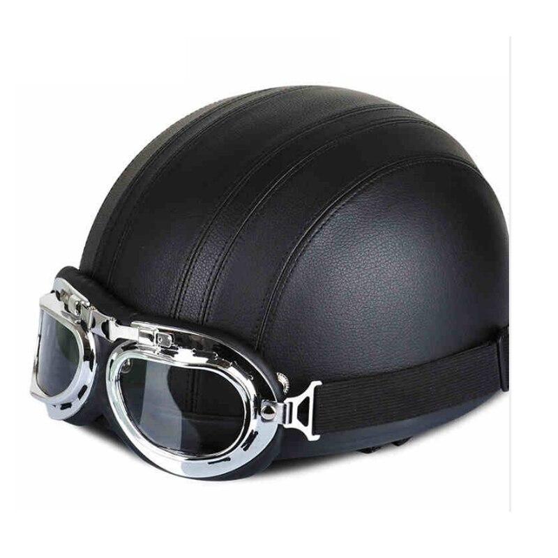 Harley Half Helmet Detachable Retro Leather Men Women Motorcycle Helmet High quality Riding Helmet With Goggles