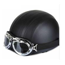 Harley полушлем съемный ретро кожаный мужской и женский мотоциклетный шлем Высококачественный шлем с очками для верховой езды четыре сезона