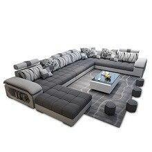Новое поступление современный дизайн u образный секционный 7 с обивкой из ткани угловой диван