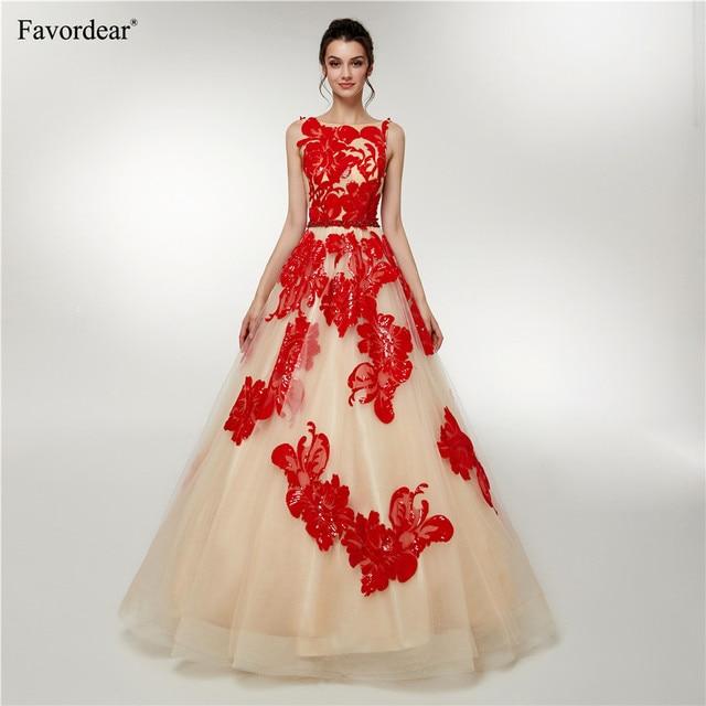 434abf23a26 Favordear Robe De Soiree Formal Dress 2019 Long Evening Gowns Vestido De  Festa Red Sequin Appliques