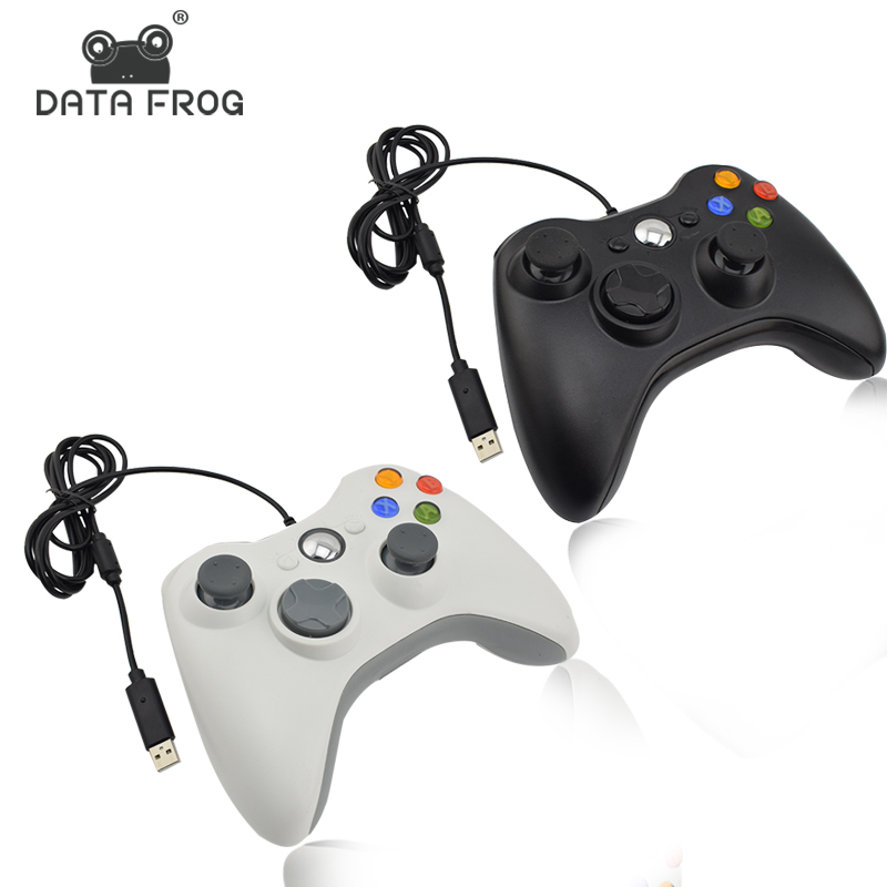 Data Frog Black And White Wired Vibration Gamepad With USB Cable Game controller Joystick For PC High Quality цена
