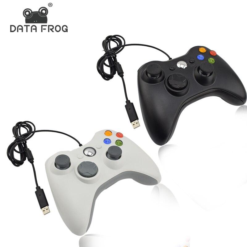 Data Frog negro y blanco con Cable vibratorio Gamepad con Cable USB controlador de juego Joystick para PC de alta calidad