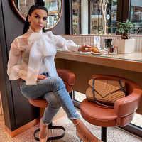 Pajarita de moño de verano Organza blanca pura blusa mujer linterna manga camisa superior Oficina señora Sexy elegante blusas Blusas femeninas