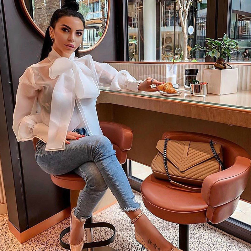 Summer Bowknot Bow Tie Organza White Sheer Blouse Women Lantern Sleeve Shirt Top Office Lady Sexy Elegant Blouses Tops Femininos