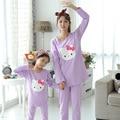 Madre e Hija de Ropa Pijamas de navidad Pijamas de Las Muchachas Hola Gatito Familia Pijama A Juego Family Look