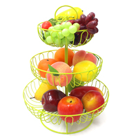 3 Tier Fruit Stand Green Paint Iron Wedding Cake Stand Round Dessert Stand Wire Fruit Basket