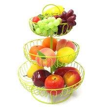 3 Tier Obst Ständer Grün Farbe Eisen Hochzeit Kuchen Stehen Runde Dessert Stand Draht Obstkorb
