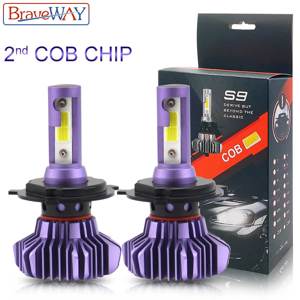 BraveWay 2nd COB Chip LED Car Headlights Diode Bulbs H1 H7 H4 LED H8 H11 HB3 9005 HB4 9006 Far Middle Beam Farol LED Lamp Car