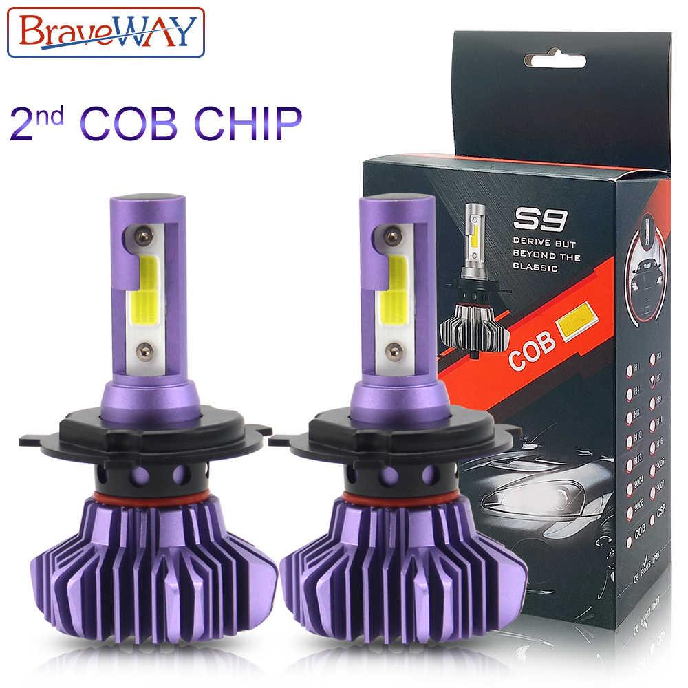BraveWay 2nd чип COB светодиодный Автомобильные фары диодные лампочки H1 H7 H4 светодиодный H8 H11 HB3 9005 HB4 9006 дальний ближний свет фарол светодиодный светильник автомобиля
