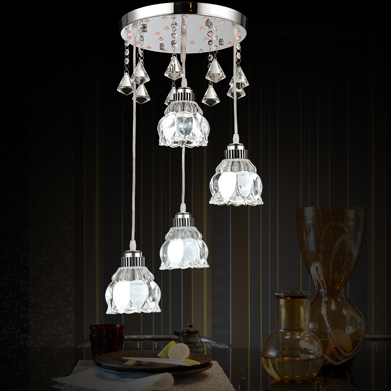 fashion aluminum 1/3/4 heads LED lamps Crystal Led pendant lights dining room restaurant bar hone lighting pendant lamps ZA10