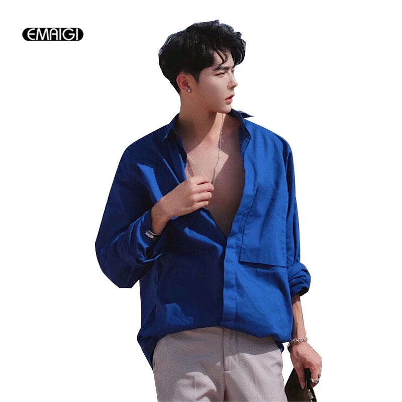 Hommes mode décontracté chemise bleue hommes femmes Streetwear été à manches longues lâche chemises-in Casual Shirts from Vêtements homme on AliExpress - 11.11_Double 11_Singles' Day 1
