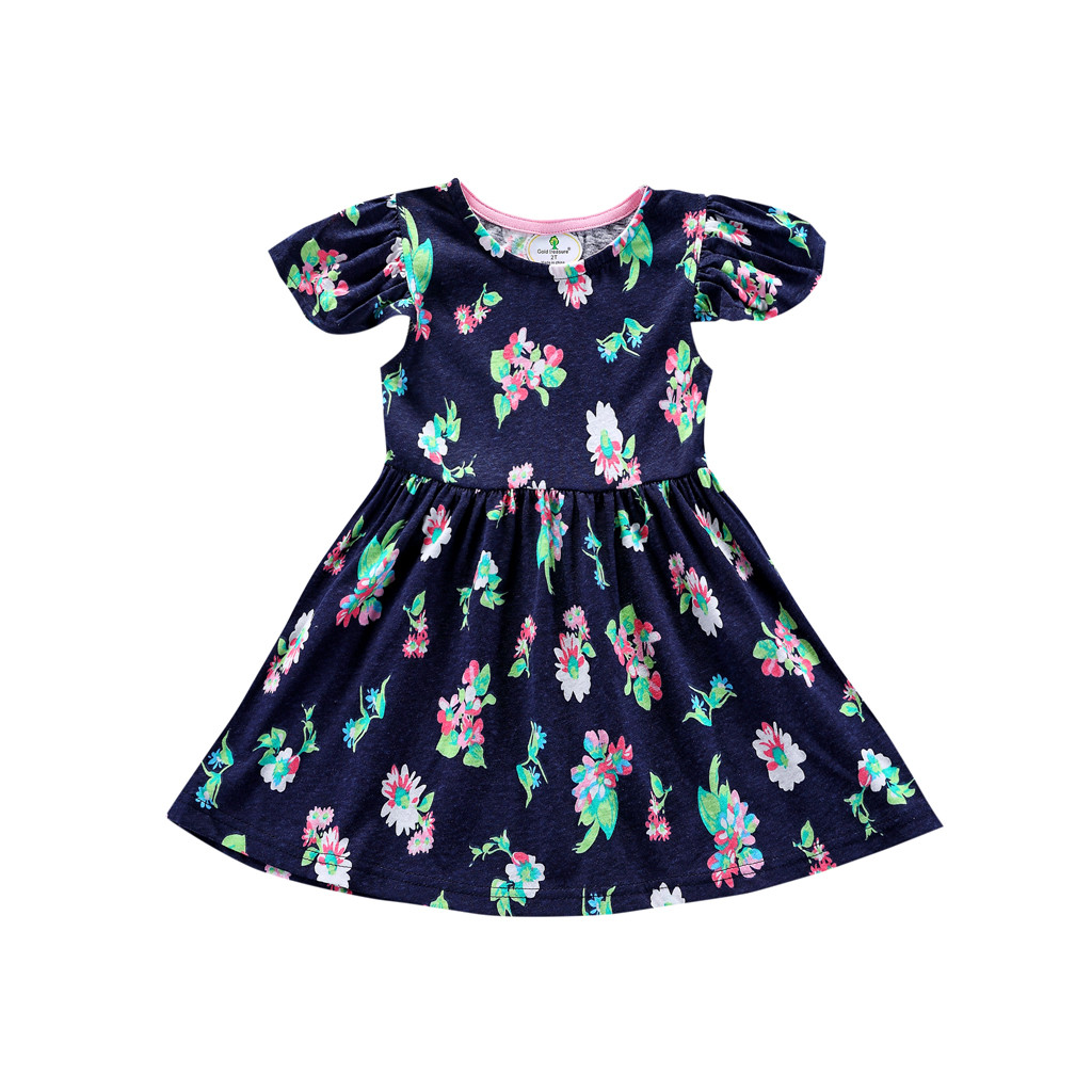 Children's  Dresses Toddler Summer Toddler Baby Girls Kid Flowers Ruffles Printed Dress Outfits Clothes Feb 12