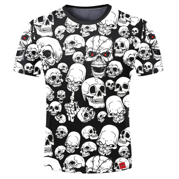 Men White Horrifying Skulls 3D Print Short Sleeve Tee