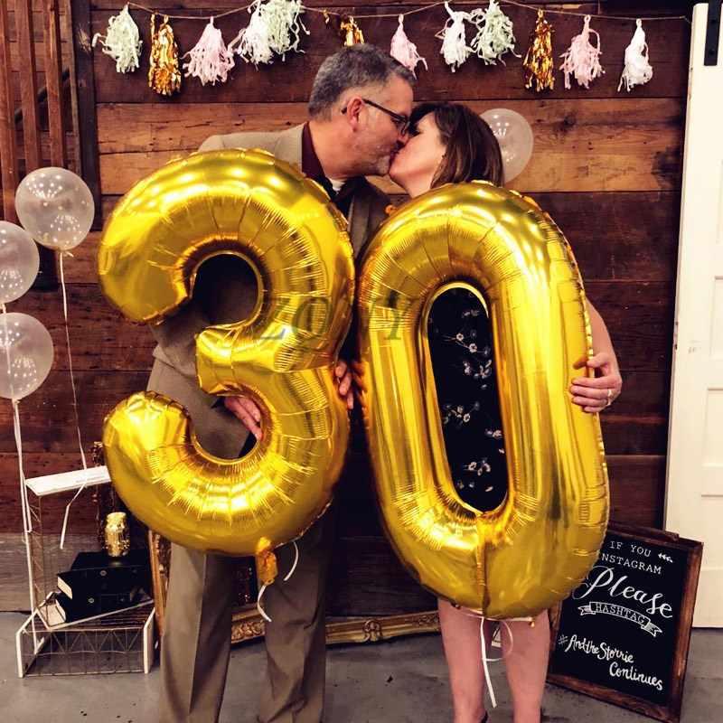 32/40 นิ้วขนาดใหญ่จำนวนบอลลูนฟอยล์ Rose Gold 0-9 ปี 18th 30 วันเกิดผู้ใหญ่เด็ก Giant Helium จดหมายบอลลูน