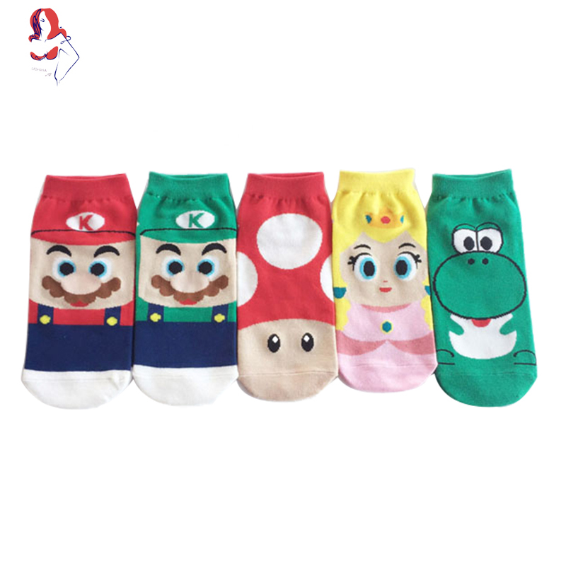 UCHIHA LQ Compression Socks 2017 New Creative Mario Cartoon Trusox 1Pair/lot Sokken Met Fiets Running Socks Woman ...