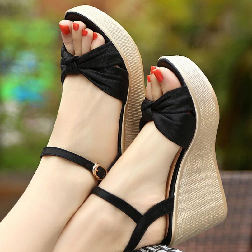 {D&Henlu} Plus Size43 Shoes Summer Sandals Wedge Platform Sandals Ladies Sandal Woman Summer Shoes Woman 2018 Gold Shoe Bow Tie все цены