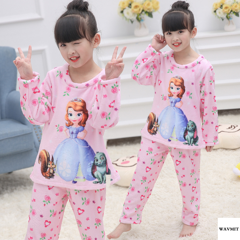 New Arrivals 2018 WAVMIT Thick Warm   Pajamas   Children   Pajamas     Set   Baby Long Sleeved Sleepwear Girls Nightwear Clothing Kids Pant