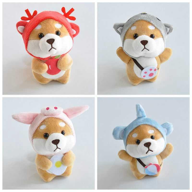 Novo Chaveiro Kawaii Vestido Up Shiba Inu Cheio Boneca de Brinquedo de Pelúcia Bonitinho Shiba Inu Animal Bebê Brinquedo de Pelúcia Do Bebê keychain ZNNL042-1