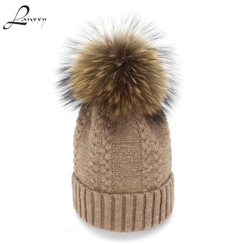 Lanxxy Knitted Beanies Women Winter Hats Girls Warm Touca Bonnet Caps Female Real Fur Pom Pom Hat