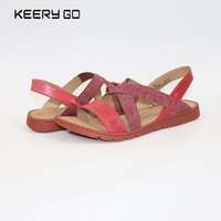 New Head Layer Of Cowhide Flat Bottomed Lady Sandals With Relaxed And Comfortable Fashion Women S
