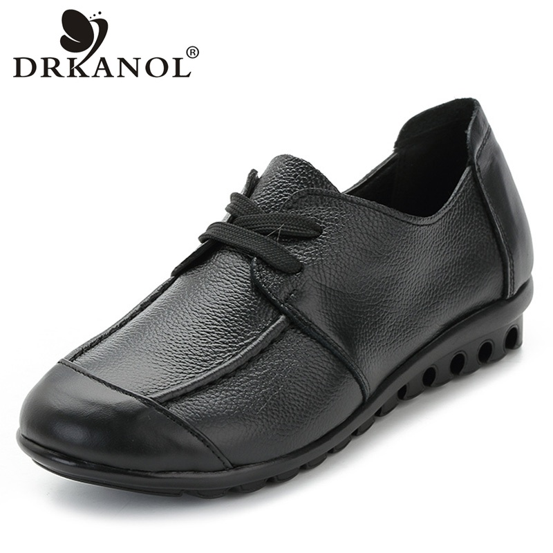 DRKANOL New Casual Shoes Woman Lace Up Round Toe Genuine Leather Women Flat Shoes Fashion Soft Mother Shoes Chaussure Femme summer mother shoes woman genuine leather soft outsole open toe sandals casual flat women shoes 2018 new fashion women sandals