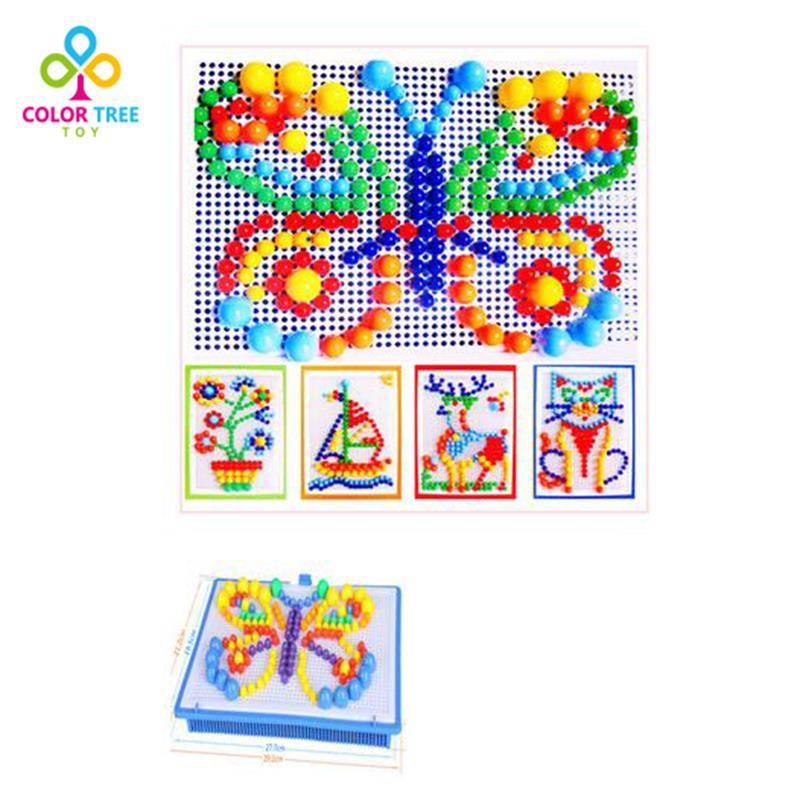 296 шт./компл. Творческая мозаика Игрушечные лошадки pegboard гриб гвоздя комплект композитный Обучающие головоломки игрушки подарки для детей