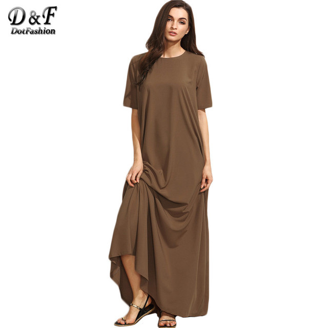 Dotfashion Brown Short Sleeve Zipper Back Maxi Dress Autumn New Style Round Neck Plain Long Casual Dress