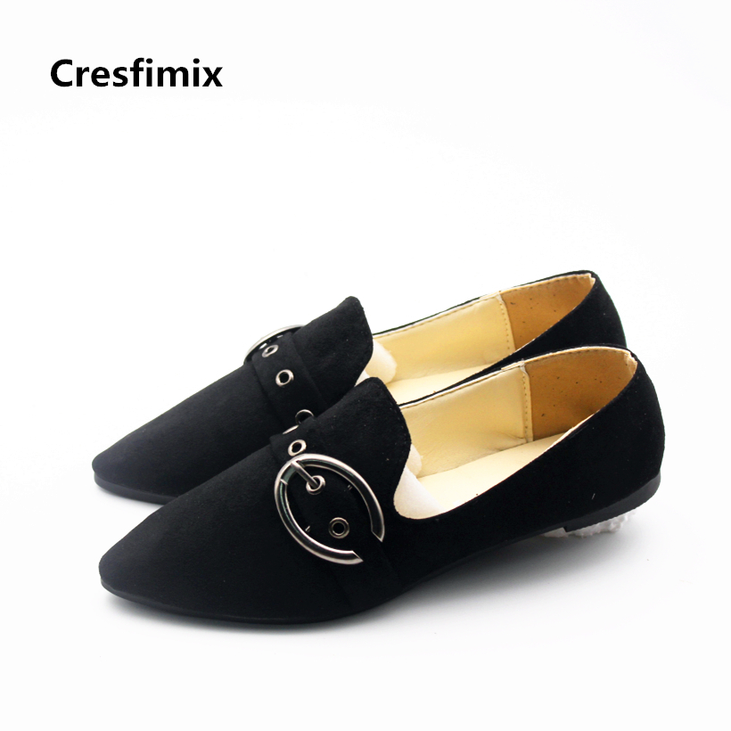 Cresfimix women fashion black retro dance flat shoes lady cute outside pointed toe shoes female cute spring slip on shoes cresfimix women cute spring