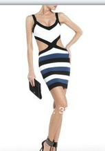 2016 black and white bandage dress for the sexy women see the waist new arrival fashion bandage dress DM528