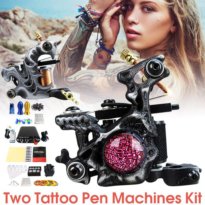 Professional Tattoo Coil Machine Kits Two Machines Completed Tattoo Power Supply Ink Kits Two Machines for Artist Tattoo Kit Set handmade tattoo machines