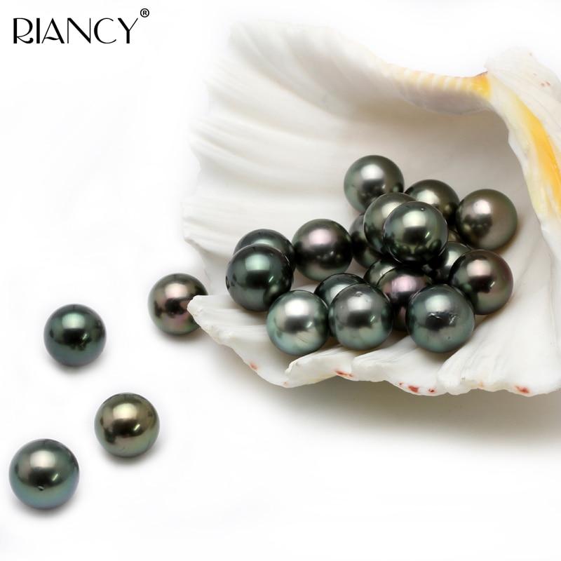 3ae8d4f92 12-13MM Big Natural Tahitian Black Pearl Beads DIY naked pearl disperse  seeds.Prefect Round Peacock Green Loose Bead Real Pearl
