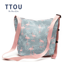 TTOU New Pink Flamingo Printing Shoulder Bags Cartoon Polyester Animal Women Handbag Crossbody Messenger Bag Ladies Beach