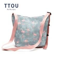 TTOU New Pink Flamingo Printing Shoulder Bags Cartoon Polyester Animal Women Handbag Crossbody Messenger Bag Ladies Beach Bag