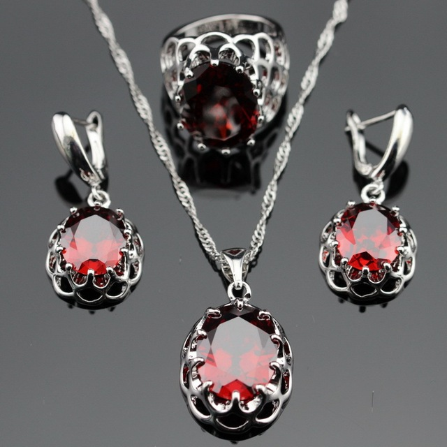 Made in China Created Red Garnet Silver Color Bridal Jewelry Sets Earrings/Pendant/Necklace/Rings For Women Free Gift Box