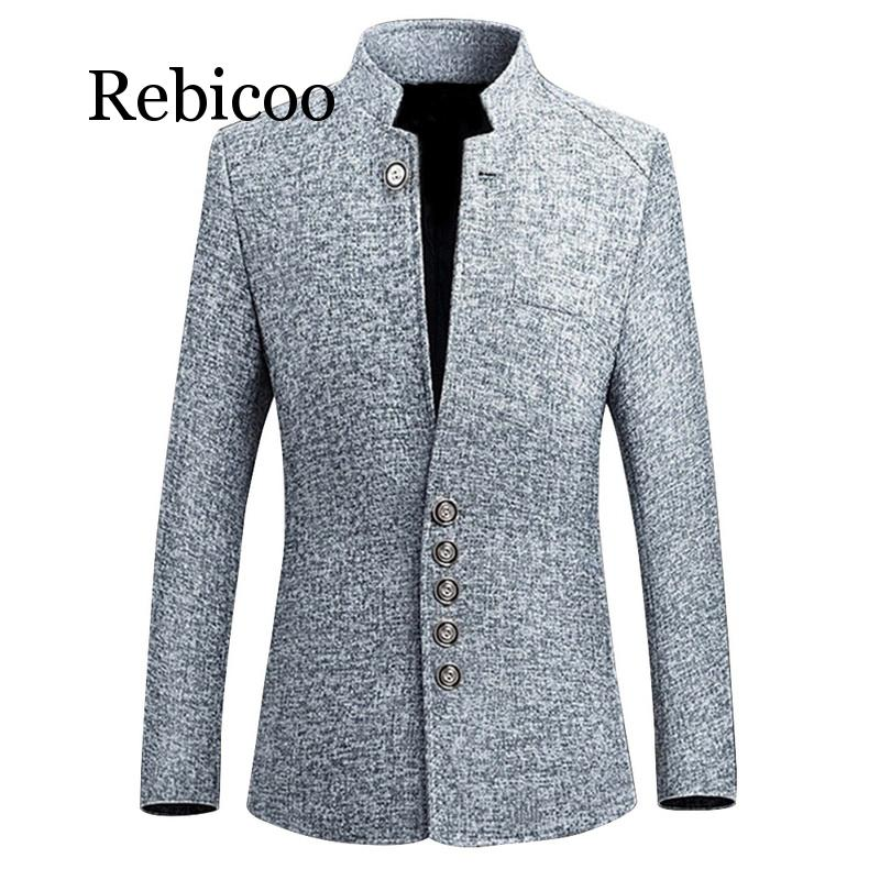 2019 Mens Vintage Blazer Coats Chinese Style Business Casual Stand Collar Male Blazer Jackets Slim Mens Casual Suit Jacket