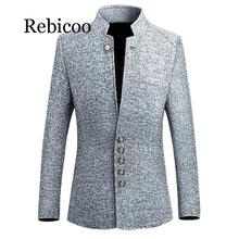 2019 Mens Vintage Blazer Coats Chinese Style Business Casual Stand Collar Male Jackets Slim Suit Jacket