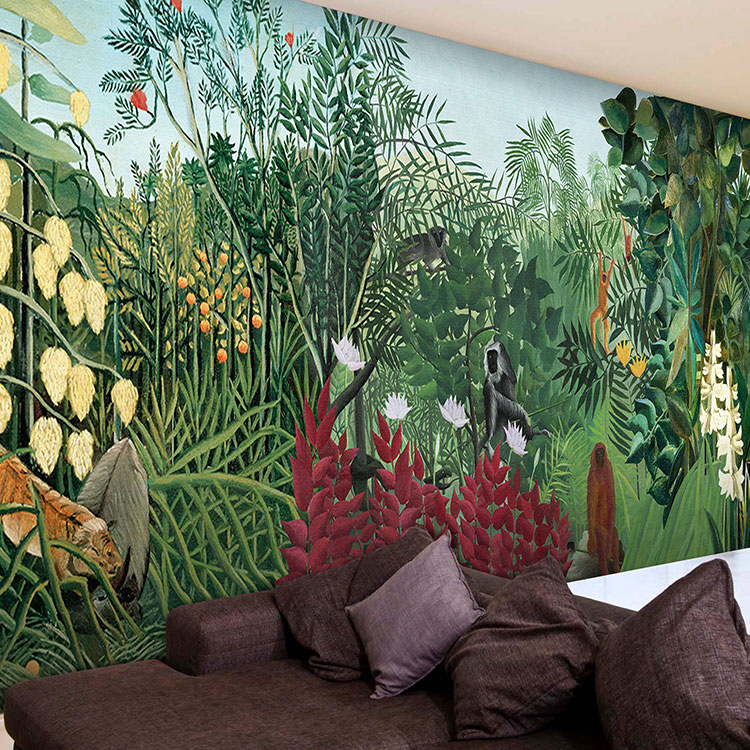 Custom 3d mural tropical rainforest jungle green large for Cafe mural wallpaper