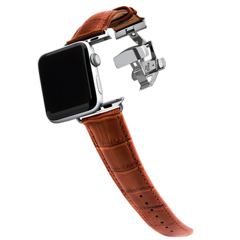 цена на Genuine Leather strap for apple watch 4 5 band 44mm 42mm 38mm 40mm bracelet Butterfly buckle watchband for iwatch 5/4/3/2/1 belt