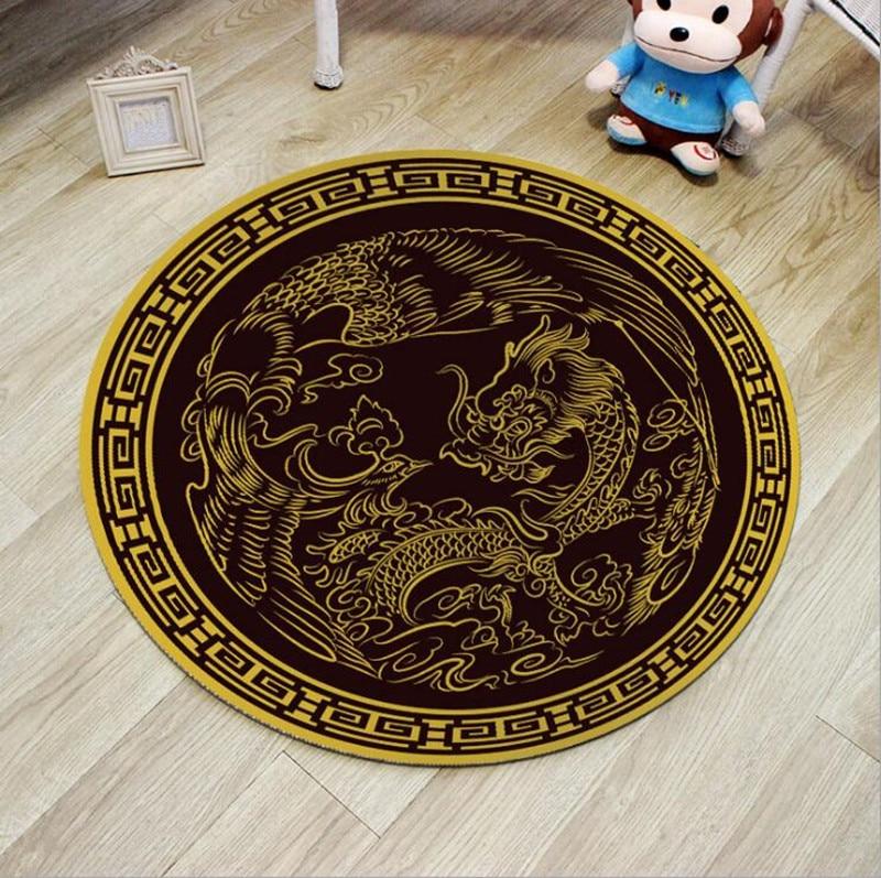 60/80cm Round Carpets Dragon and Phoenix Print Carpet Anti slip Rugs Twin Bliss Mat Home Decor Floor Mat for Living Room round carpet print carpetdecoration floor - AliExpress