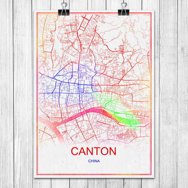 Canton china modern colorful world city map print poster abstract canton china modern colorful world city map print poster abstract coated paper bar pub living room gumiabroncs Images