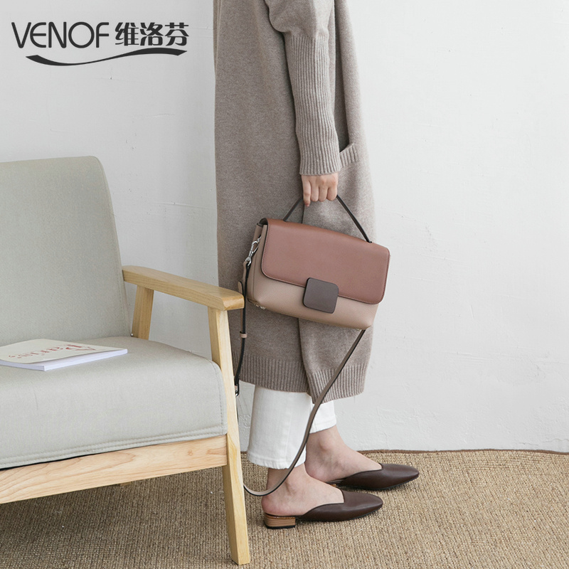 VENOF Vintage genuine Leather shoulder bags for women contrast color female bag crossbody bag Luxury Handbags