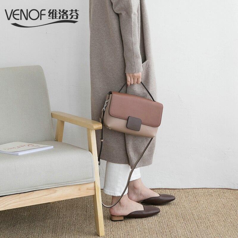 VENOF ヴィンテージ本革ショルダーバッグ女性のためのコントラストカラーの女性のバッグクロスボディバッグ高級ハンドバッグの女性のバッグデザイナー  グループ上の スーツケース & バッグ からの トップハンドルバッグ の中 1