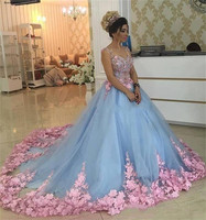 2019 Ball Gown Light Sky Blue Quinceanera Dresses Pink 3D Flowers Appliques V Neck Sleeveless Special Party Gowns For Sweet 16