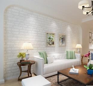 Ladrillo blanco 3d papel tapiz mural papel de parede - Papel pintado aislante termico ...
