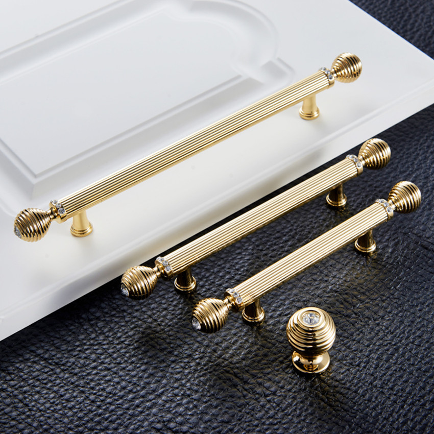 128mm 96mm 192mm Fashion deluxe rhinestone wardrobe kitchen cabinet door handles K9 crystal bright gold drawer wine cabinet pull цена