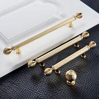 128mm 96mm 192mm Fashion Deluxe Rhinestone Wardrobe Kitchen Cabinet Door Handles K9 Crystal Bright Gold Drawer